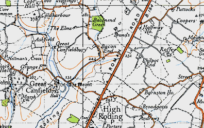Old map of Bacon End in 1946