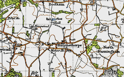 Old map of Baconsthorpe in 1945