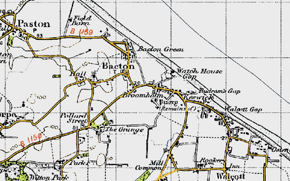 Old map of Bacton in 1945