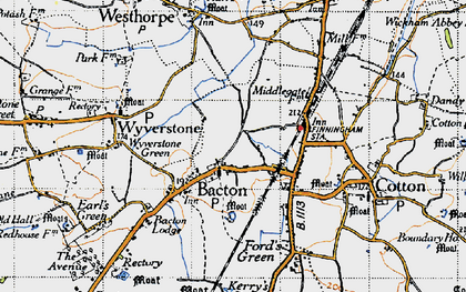Old map of Bacton in 1946