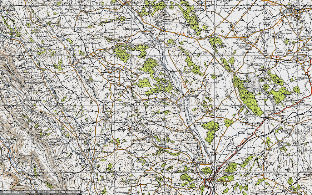 Old Map of Historic Map covering Bacton Stud in 1947