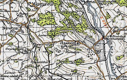 Old map of Bacton in 1947