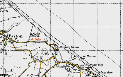 Old map of Bacton Green in 1945