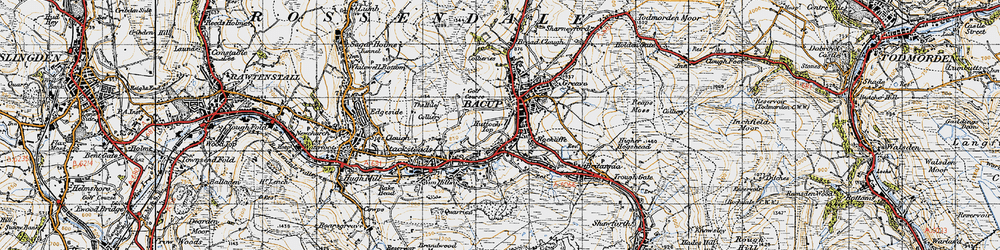 Old map of Bacup in 1947