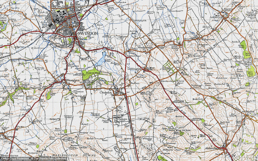 Old Map of Historic Map covering Liddington Castle in 1947