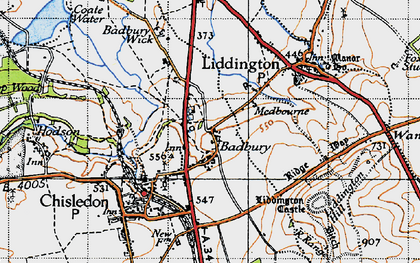 Old map of Liddington Castle in 1947