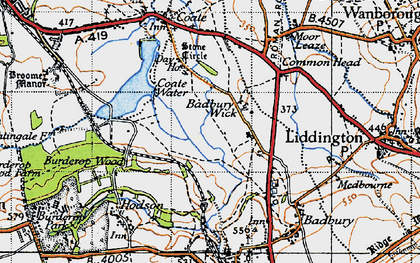 Old map of Badbury Wick in 1947