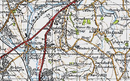 Old map of Baddeley Edge in 1946