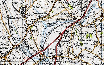 Old map of Baddeley Green in 1946