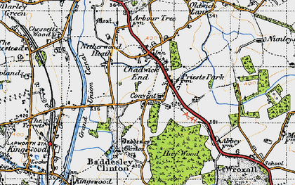 Old map of Baddesley Clinton in 1947