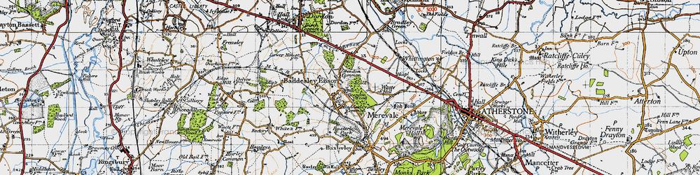 Old map of Baddesley Ensor in 1946