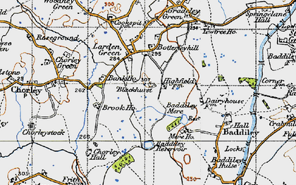 Old map of Baddiley Hulse in 1947