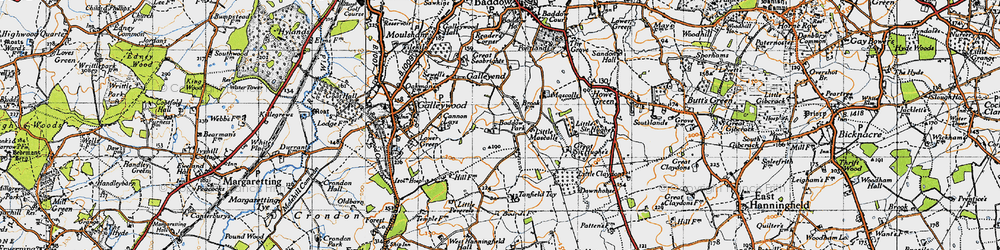 Old map of Baddow Park in 1945