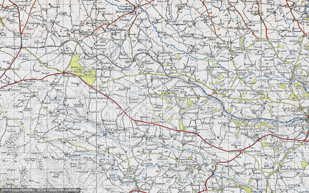 Old Map of Historic Map covering Badgall Downs in 1946