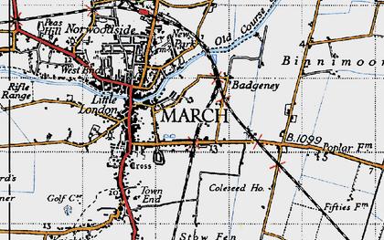 Old map of Badgeney in 1946