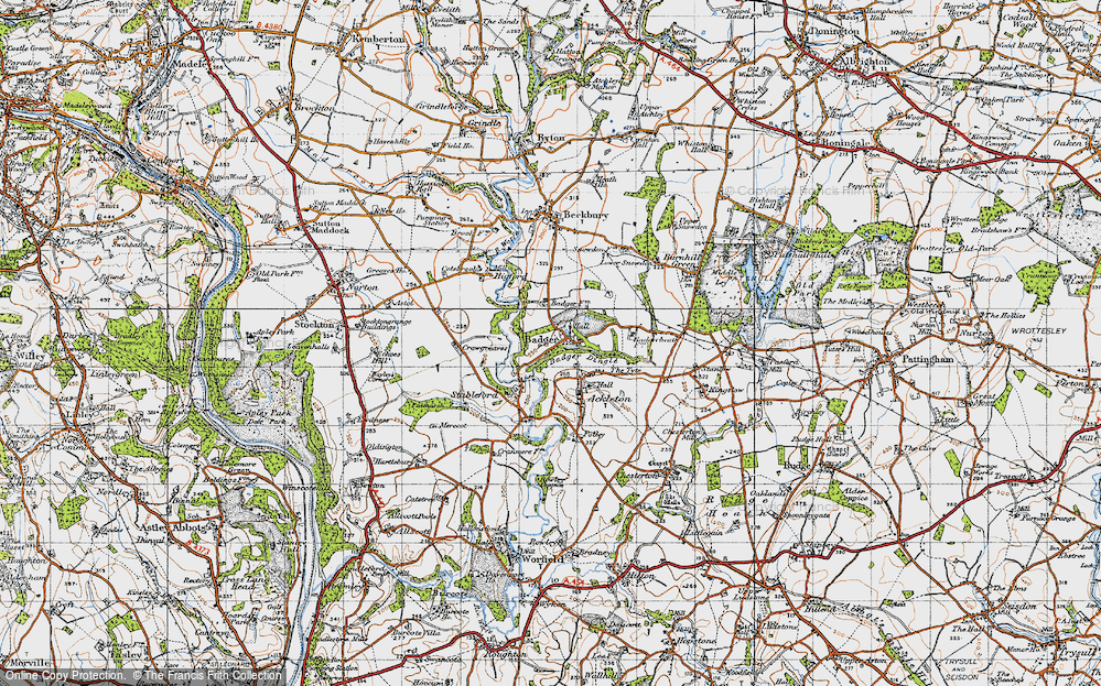 Old Map of Historic Map covering Badger Dingle in 1946