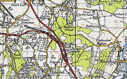 Old map of Badgers Mount in 1946
