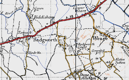 Old map of Badgworth in 1946