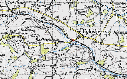Old map of Badharlick in 1946