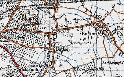 Old map of Badsey in 1946
