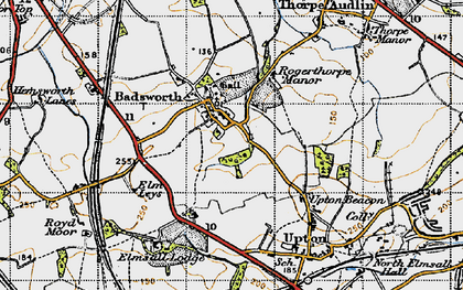 Old map of Badsworth in 1947