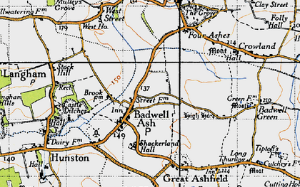 Old map of Badwell Ash in 1946