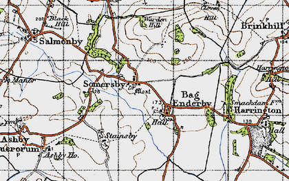 Old map of Bag Enderby in 1946