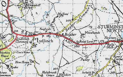 Old map of Bagber in 1945