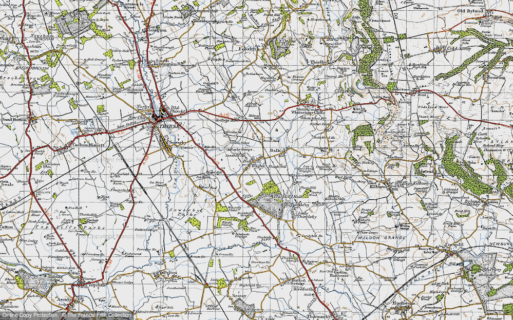Old Map of Historic Map covering Abbot's Close in 1947