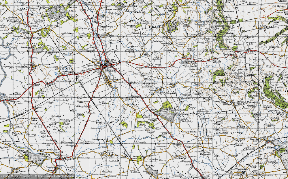 Old Map of Historic Map covering Woodcock in 1947