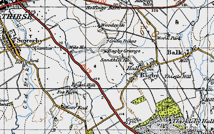 Old map of Bagby Grange in 1947