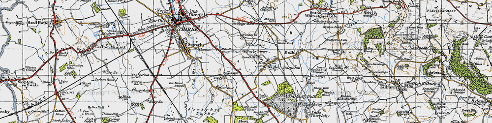 Old map of Woodcock in 1947