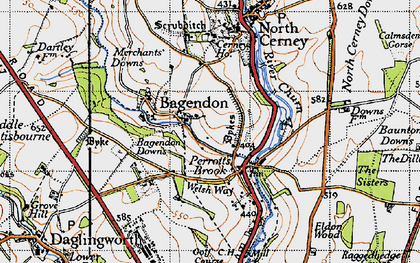 Old map of Bagendon in 1946