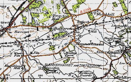 Old map of Baggrow in 1947