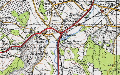 Old map of Bagham in 1940