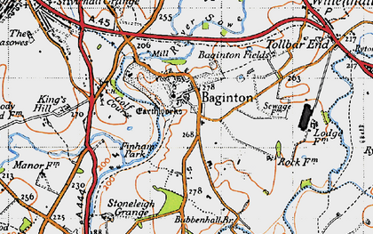Old map of Baginton in 1946