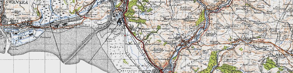 Old map of Baglan in 1947