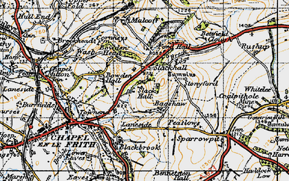 Old map of Bagshaw in 1947