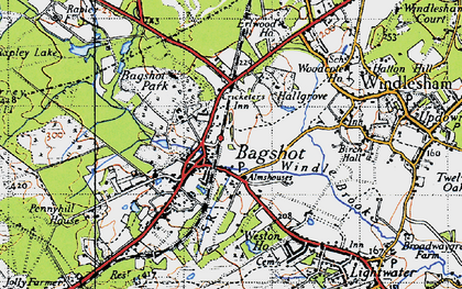 Old map of Bagshot Heath in 1940