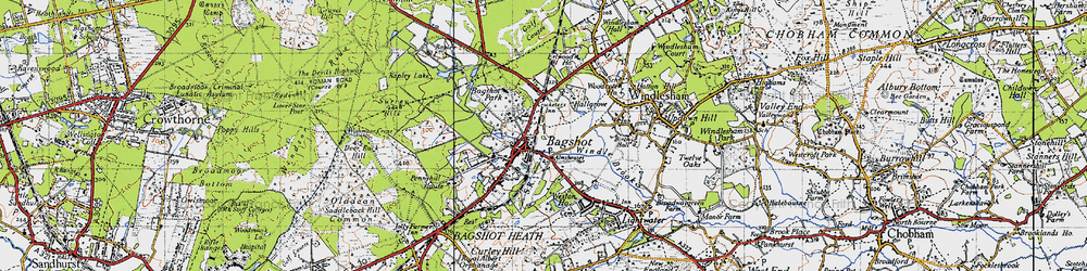 Old map of Bagshot in 1940