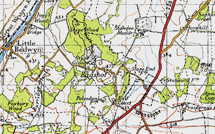 Old map of Bagshot in 1945