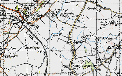 Old map of Bagstone in 1946