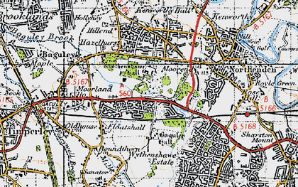 Old map of Wythenshawe Hall in 1947