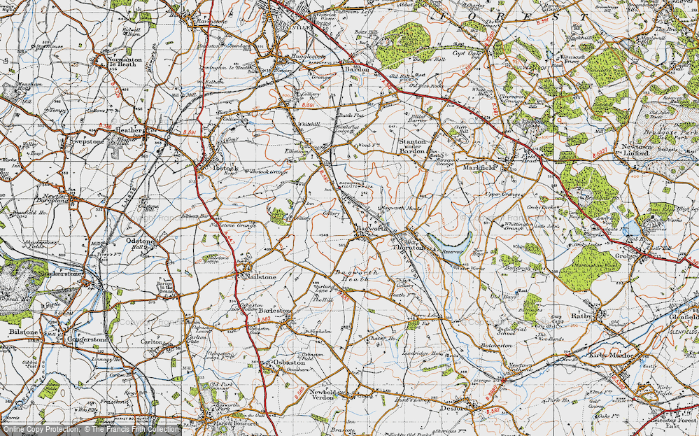 Old Map of Historic Map covering Bagworth Heath in 1946