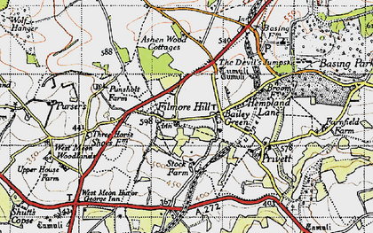 Old map of Ashen Wood Ho in 1945
