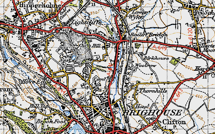 Old map of Bailiff Bridge in 1947