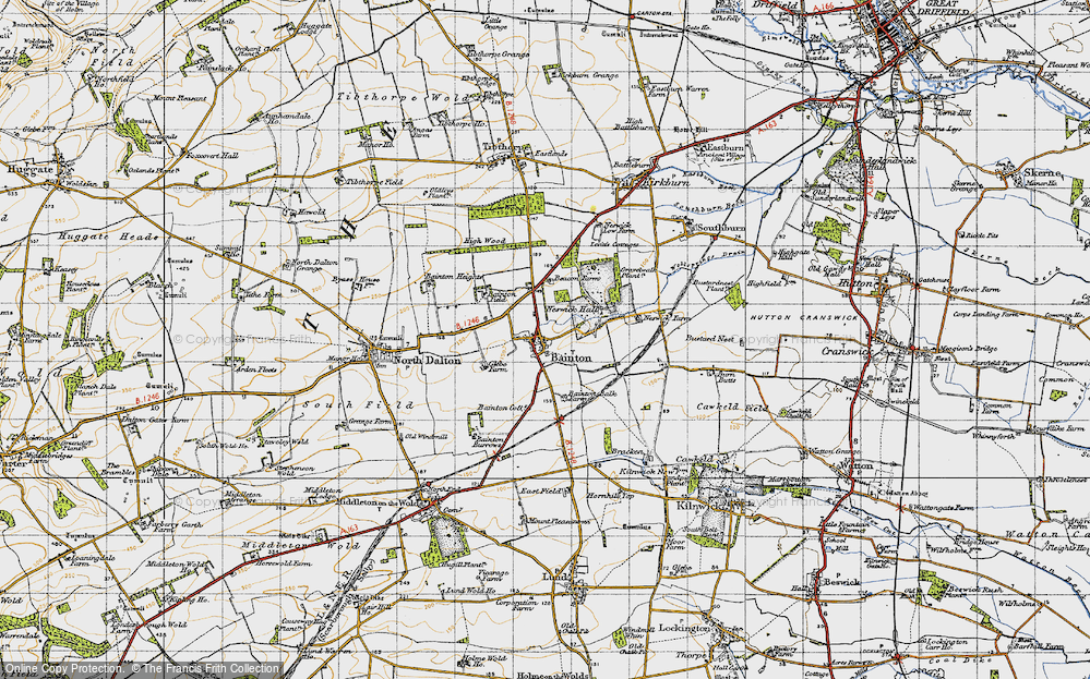 Old Map of Bainton, 1947 in 1947