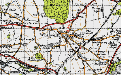 Old map of Whitwell Common in 1947
