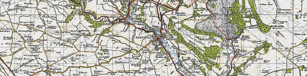 Old map of Bakewell in 1947