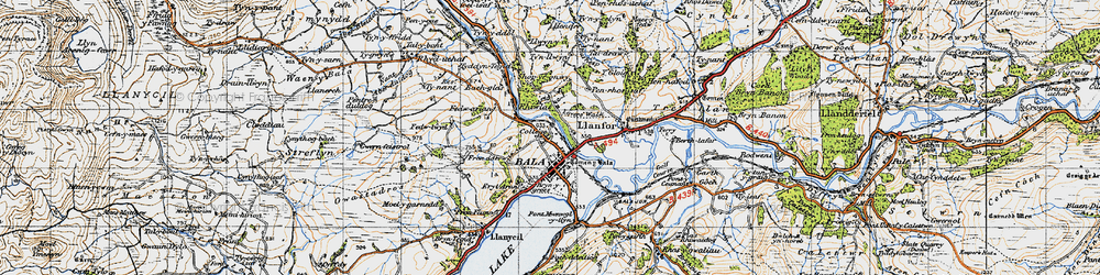 Old map of Bala in 1947